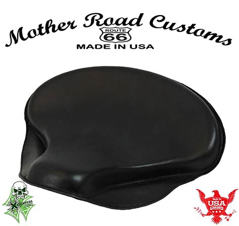 "15x14"" Black Leather Spring Solo Tractor Seat - Chopper Bobber"