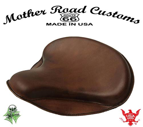 "15x14"" Brown Leather Spring Solo Tractor Seat - Chopper Bobber"