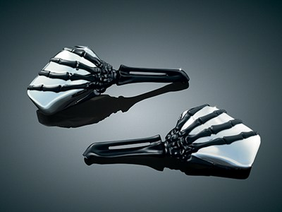 Kuryakyn Skeleton Hand Mirrors - Black Arms /Chrome Mirrors (pr)