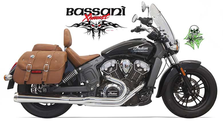 Bassani 2 into 1 Long Chrome Exhausts for Indian Scout
