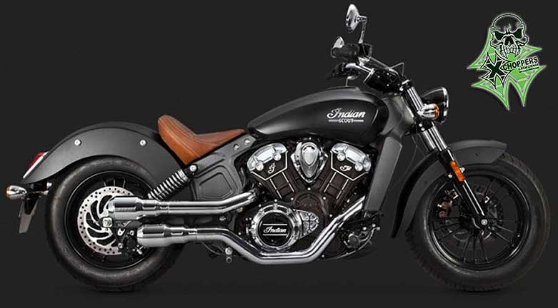 Vance & Hines Hi Output Grenades - Chrome for 2015+ Indian Scout