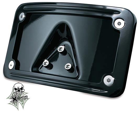 Kuryakyn Black Curved Laydown License Plate Mount with Frame