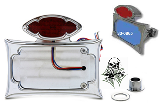 Chrome Horiz. License Plate Mount w/ Taillight - Shock Mount