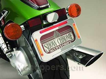Big Bike Parts - Chrome LED License Plt. Frame With Signals