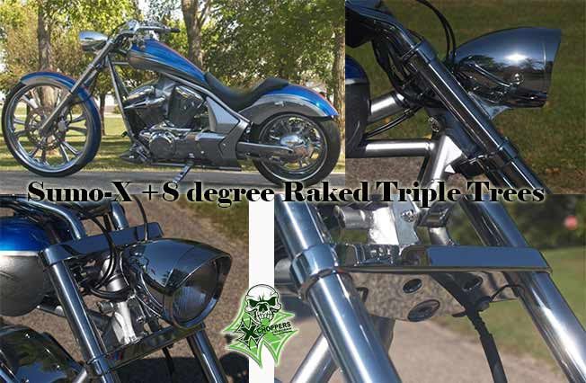 Wild West Honda >> Xchoppers.com - Sumo-X +8 degree Raked Triple Trees - Honda Fury