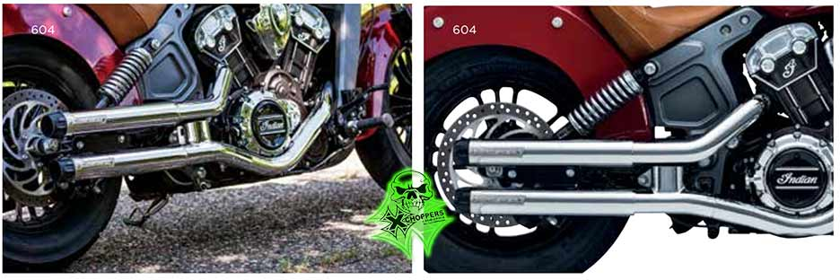 Crusher Maverick Slip-Ons for Indian Scout - Chrome