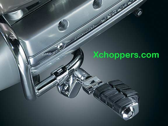 "Kury. Dually ISO-Pegs w/ Offset 1"" Magnum Quick Clamps, Chrome"