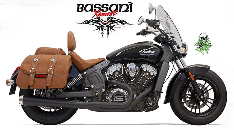 Bassani 2 into 1 Long Black Exhausts for Indian Scout