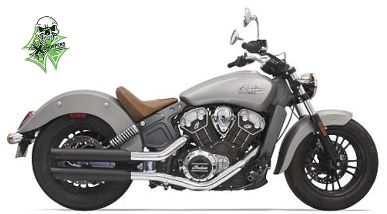 "Bassani 3"" Black Mufflers W/ Black Slash Cut Tips '14+ Scout"