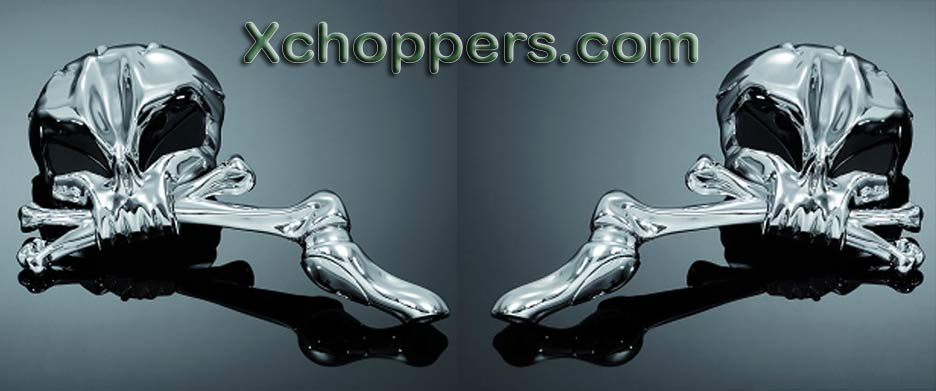 Highway Hawk Chrome Skullhead Mirrors (Pair)