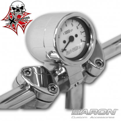 "Baron 3"" BULLET TACHOMETER White Face / 1.5"" Bar"