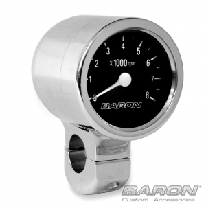 "Baron 3"" BULLET TACHOMETER BLACK FACE / 1.5"" Bar"