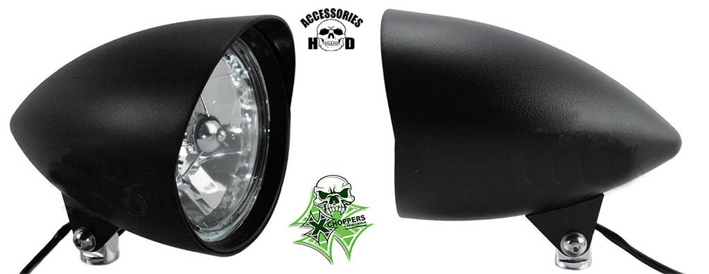 "Black 5 ¾"" Tri Bar Cobra Billet Headlight"