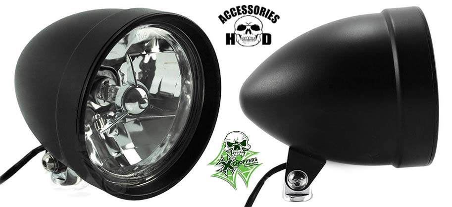 "BLACK 5 ¾"" TRI BAR CLASSIC COBRA BILLET HEADLIGHT"