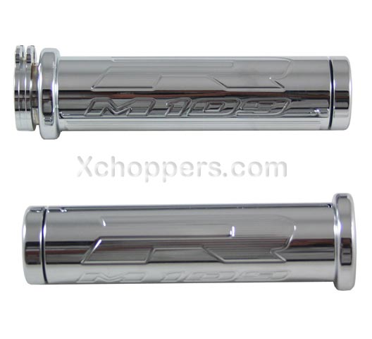 CHROME SUZUKI M109 STRAIGHT GRIP SET WITH FLAT ENDS