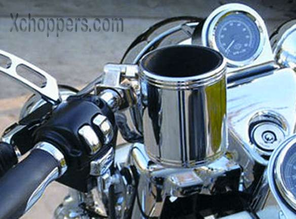 "Rivco Chrome Cup Holder - Chrome - .875"" - 1.25"" Bars"
