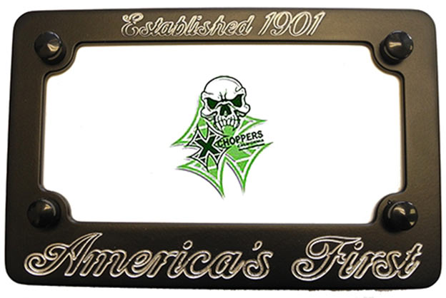 Aeromach BLACK Billet License Plate Frame - America's First