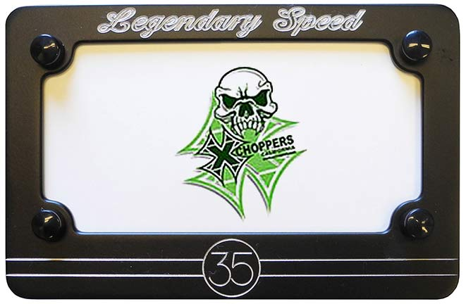 Aeromach BLACK Billet License Plate Frame - Legendary Speed