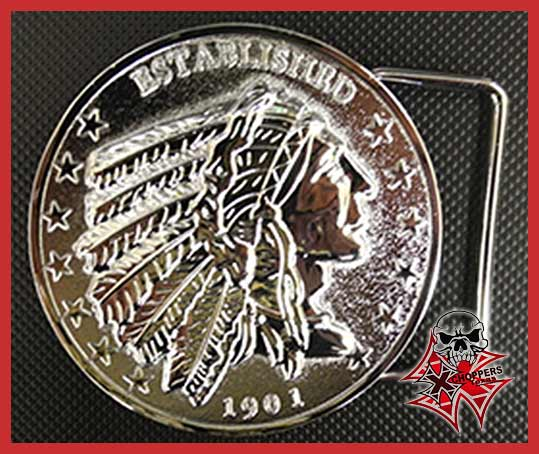 "Aeromach ""Indian Head"" Belt Buckle - Chrome"