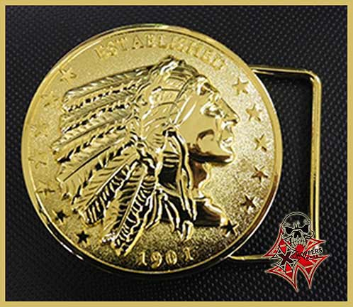 "Aeromach ""Indian Head"" Belt Buckle - Gold"
