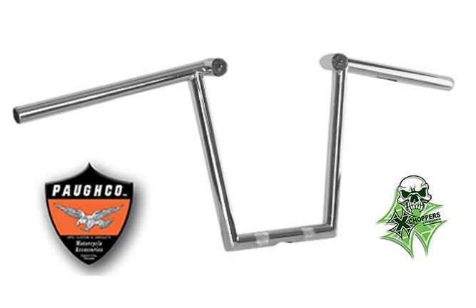 "Paughco 1"" Chrome Z Bars with LED Lights - 12"" Rise"