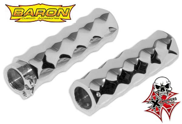 LA Choppers Chrome Hex Tex Grips  - Honda