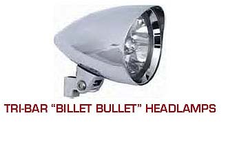 "ULTIMA - 5.75"" Tri Bar ""Billet Bullet"" Headlamp W Visor"