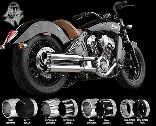"RC Components Chrome 3"" Slip On Mufflers - Indian Scout, Scout60"