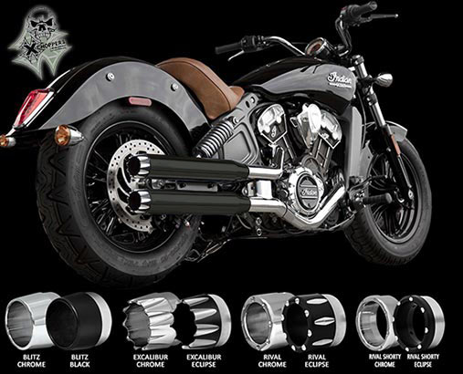"RC Components Black 3"" Slip On Mufflers - Indian Scout, Scout60"