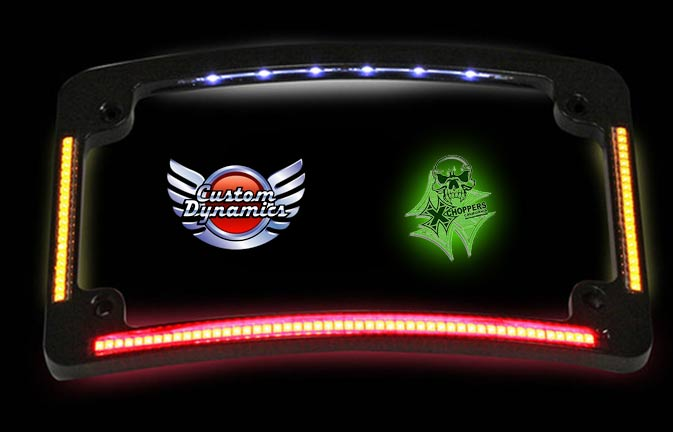 Curved Black License Frame with Integrated Run/Turn/Brake LEDs