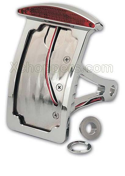 Chromed Billet Curved Sidemount Assy. - Slice LED Taillight