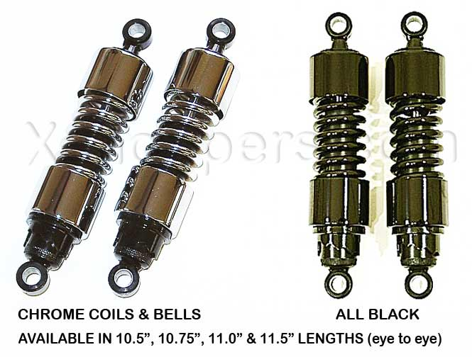 "MB Prod. - VTX Gas Shocks Black & Chrome - 10.5"" & longer (pr)"